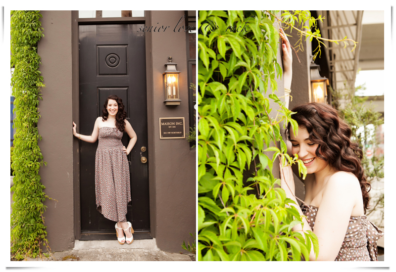 senior pictures in front of Maison Inc. in the pearl district