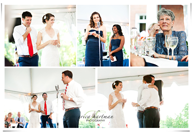 Heartfelt toasts at an outdoor, 4th of July wedding at Oxon Hill Manor